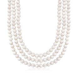 "8-9mm Cultured Pearl Endless Necklace With Free Sterling Silver Necklace Shortener. 80"", , default"
