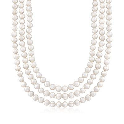 8-9mm Cultured Pearl Endless Necklace With Free Sterling Silver Necklace Shortener, , default