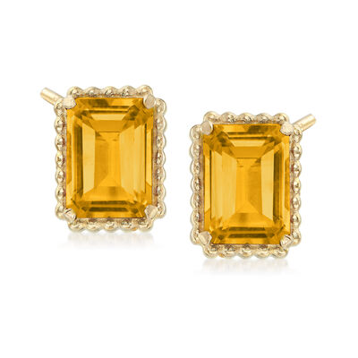 3.00 ct. t.w. Citrine and 14kt Yellow Gold Beaded Frame Earrings, , default
