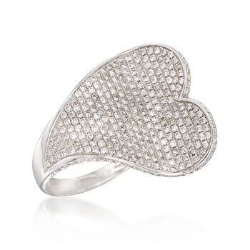 2.20 ct. t.w. Pave Diamond Heart Ring in 18kt White Gold. Size 6, , default