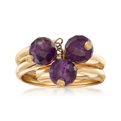 4.50 ct. t.w. Amethyst Triple-Coil Ring in 14kt Yellow Gold