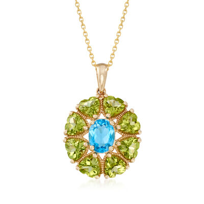 4.20 ct. t.w. Peridot and 1.20 Carat Blue Topaz Pendant Necklace in 14kt Yellow Gold, , default