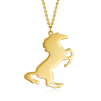 14kt Yellow Gold Horse Necklace
