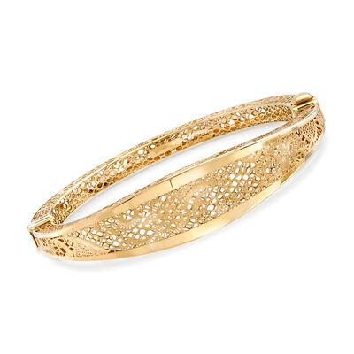 Italian 18kt Yellow Gold Openwork Floral Bangle Bracelet, , default