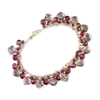 C. 1990 Vintage 16.00 ct. t.w. Smoky Quartz and 15.00 ct. t.w. Garnet Bracelet in 14kt Yellow Gold, , default