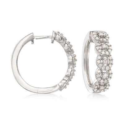 1.00 ct. t.w. Diamond Halo Hoop Earrings in Sterling Silver, , default