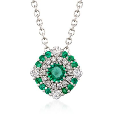 Gregg Ruth .40 ct. t.w. Emerald and .23 ct. t.w. Diamond Necklace in 18kt White Gold, , default