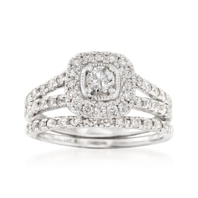 1.00 ct. t.w. Diamond Bridal Set: Halo Engagement and Wedding Rings in 14kt White Gold, , default