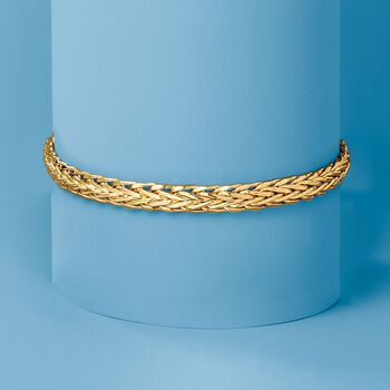 18kt Yellow Gold Wheat-Link Bracelet, , default