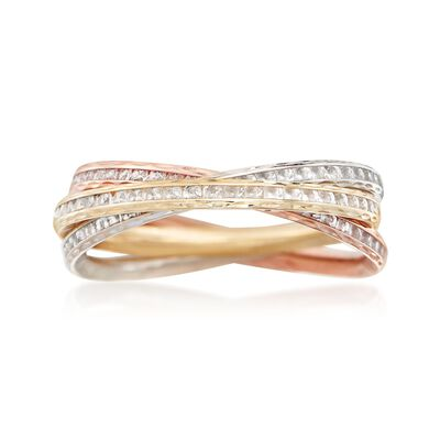 2.10 ct. t.w. CZ Rolling Ring in 14kt Tri-Colored Gold, , default