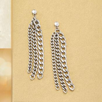 Italian Sterling Silver Curb-Link Drop Earrings