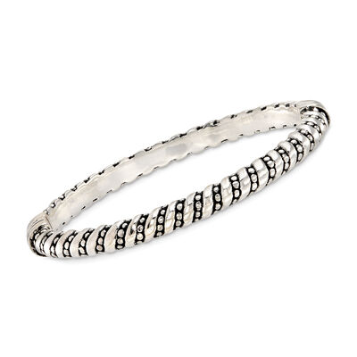 Sterling Silver Striped and Dotted Bangle Bracelet