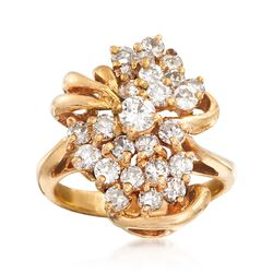 C. 1980 Vintage 1.40 ct. t.w. Diamond Cluster Ring in 14kt Yellow Gold. Size 6, , default