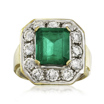 C. 1980 Vintage 2.90 Carat Emerald and 1.75 ct. t.w. Diamond Ring in 14kt Yellow Gold