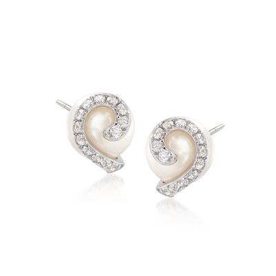 7.5-8mm Cultured Pearl and .20 ct. t.w. CZ Swirl Earrings in Sterling Silver, , default