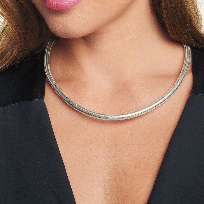 Italian Sterling Silver Flexible Four-In-One Necklace/Bracelet