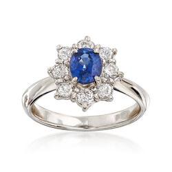 C. 2000 Vintage .95 Carat Sapphire and .60 ct. t.w. Diamond Ring in Platinum. Size 6, , default