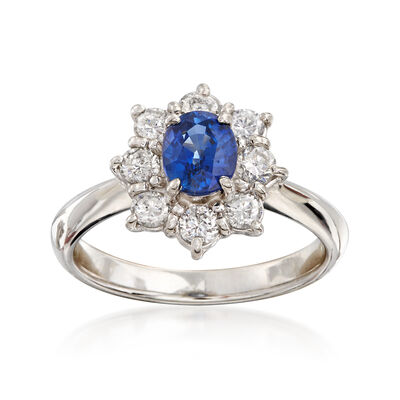 C. 2000 Vintage .95 Carat Sapphire and .60 ct. t.w. Diamond Ring in Platinum, , default