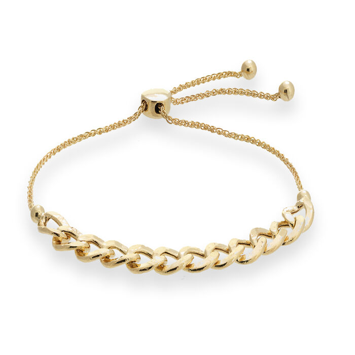 14kt Yellow Gold Curb Link Bolo Bracelet