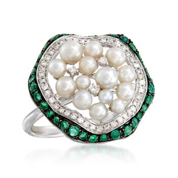 2-4mm Cultured Pearl and .56 ct. t.w. Emerald Ring with Diamonds in 18kt White Gold, , default