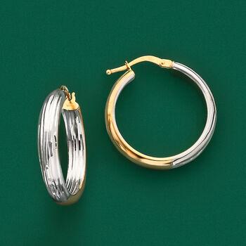 """Italian 14kt Two-Tone Gold Inside-Outside Hoop Earrings. 1"""", , default"""