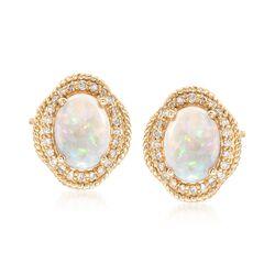 Australian Opal and .26 ct. t.w. Diamond Earrings in 14kt Yellow Gold, , default
