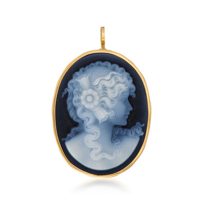 C. 1970 Vintage Blue Agate Cameo Pin Pendant in 18kt Yellow Gold