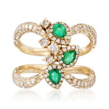 1.15 ct. t.w. Diamond and .40 ct. t.w. Emerald Open Space Ring in 14kt Yellow Gold, , default