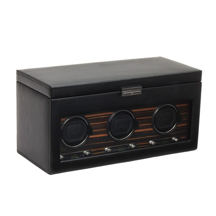 """Roadster"" Black and Ebony Macassar Triple Watch Winder with Storage by Wolf Designs"