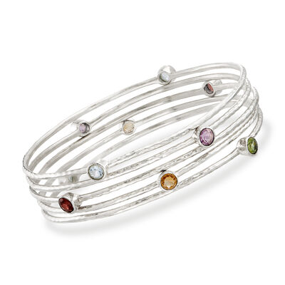 2.30 ct. t.w. Multi-Stone Jewelry Set: Five Bangle Bracelets in Sterling Silver, , default