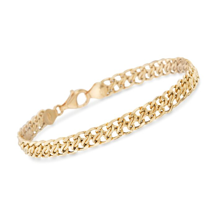 Italian 18kt Yellow Gold Flat-Link Chain Bracelet