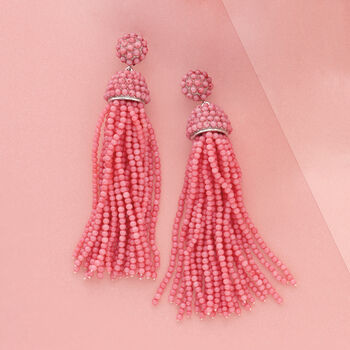 Pink Coral Bead Tassel Earrings in Sterling Silver , , default