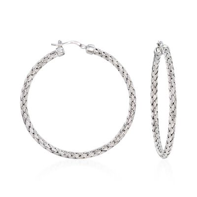 "Charles Garnier ""Milan"" Sterling Silver Large Hoop Earrings"