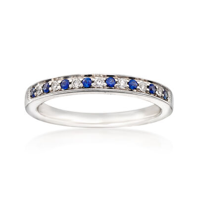 C. 1980 Vintage .15 ct. t.w. Sapphire and .10 ct. t.w. Diamond Ring in 14kt White Gold, , default
