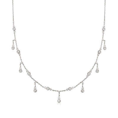 C. 1990 Vintage .57 ct. t.w. Diamond Station Necklace in 14kt White Gold