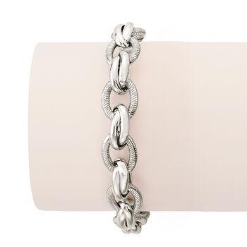 Italian Sterling Silver Textured and Polished Oval-Link Bracelet, , default