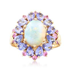 Opal With .30 ct. t.w. Pink Sapphire and 1.70 ct. t.w. Tanzanite Ring in 14kt Yellow Gold, , default