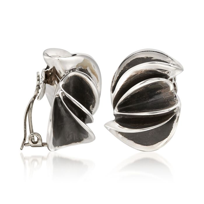 """Zina Sterling Silver """"Contemporary"""" Folded Sculpture Clip-On Earrings"""