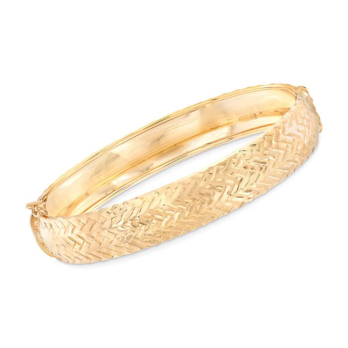 Italian 14kt Yellow Gold Woven Bangle Bracelet, , default