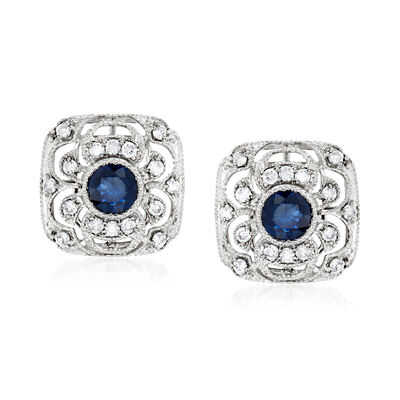 .50 ct. t.w. Sapphire and .50 ct. t.w. Diamond Openwork Earrings in 14kt White Gold