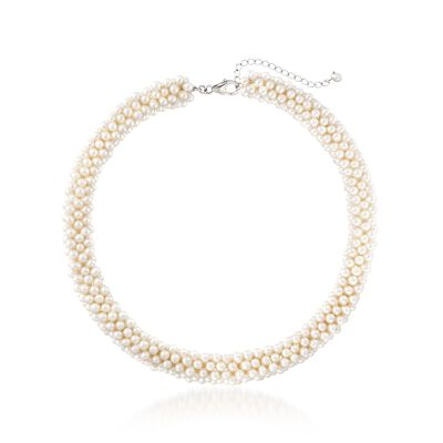 4-5.5mm Cultured Pearl Collar Necklace in Sterling Silver, , default