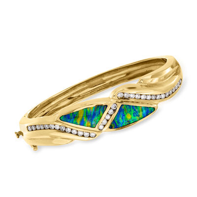 C. 1990 Vintage Black Opal and 1.00 ct. t.w. Diamond Bangle Bracelet in 14kt Yellow Gold