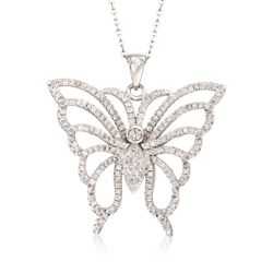 "1.85 ct. t.w. CZ Butterfly Pendant Necklace in Sterling Silver. 18"", , default"