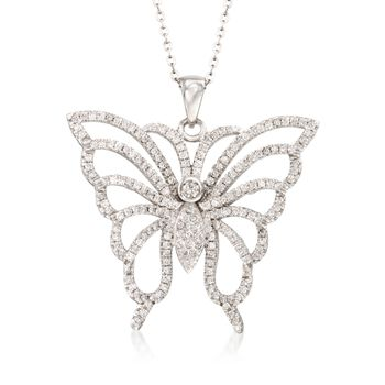 """1.85 ct. t.w. CZ Butterfly Pendant Necklace in Sterling Silver. 18"""", , default"""