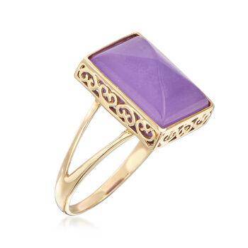 Sugarloaf Cabochon Lavender Jade Ring in 14kt Yellow Gold, , default