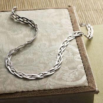 Italian Sterling Silver Braided Chain Necklace, , default