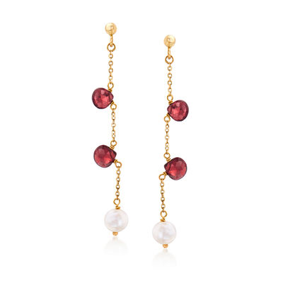 Italian 6mm Cultured Pearl and 2.00 ct. t.w. Garnet Drop Earrings in 14kt Yellow Gold, , default