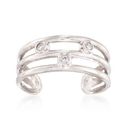 Sterling Silver Three-Row Toe Ring With Bezel-Set CZ Accents, , default