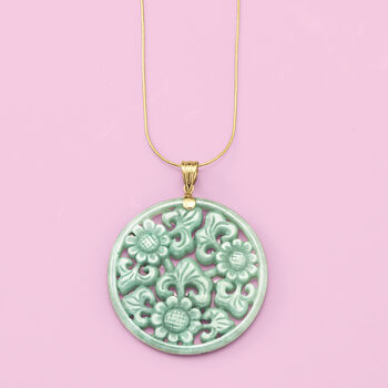 Green Jade Floral Pendant with 14kt Yellow Gold, , default