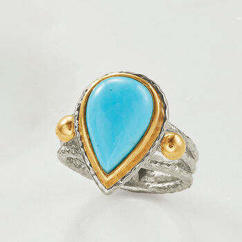 Pear-Shaped Kingman Turquoise Ring in Two-Tone Sterling Silver. Size 5, , default
